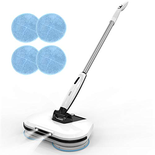 AIPER SMART Cordless Electric Spin Mop with LED Headlight, Hardwood Floor Cleaner with Built-in 300ml Water Tank, Polisher, Sprayer, Scrubber for Hardwood Floor, Tile Floors, Quiet Cleaning & Waxing