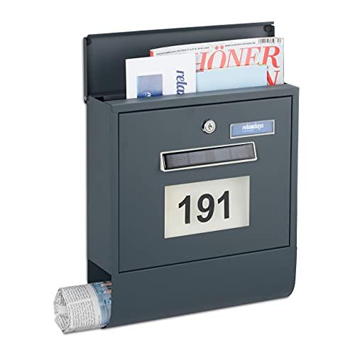 Relaxdays Briefkasten mit Beleuchtung, Zeitungsfach, Hausnummer, Namensschild, Solar, HBT 33,5 x 30,5 x 10 cm, anthrazit