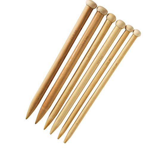 Jumbo Straight Wooden Knitting Needles Set of 3 by KnitPal | Beginner's Ebook | Large US Sizes 19, 35, 50 | Oak Wood Thick Knit Needle Kit for Huge Chunky Yarn (14 Inches)