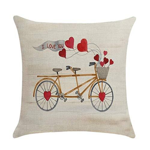 jieGorge Funda de Almohada, Happy Valentines Day Funda de Almohada de Lino Juego de Almohadillas para sofá Decoración del hogar 18x18 Pulgadas, para el día de San Valentín (E)