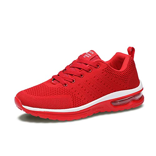 Axcone Homme Femme Air Baskets Chaussures Outdoor Running Gym Fitness Sport Sneakers Style Running Multicolore Respirante- 36EU-46EU, Rouge1, 36 EU
