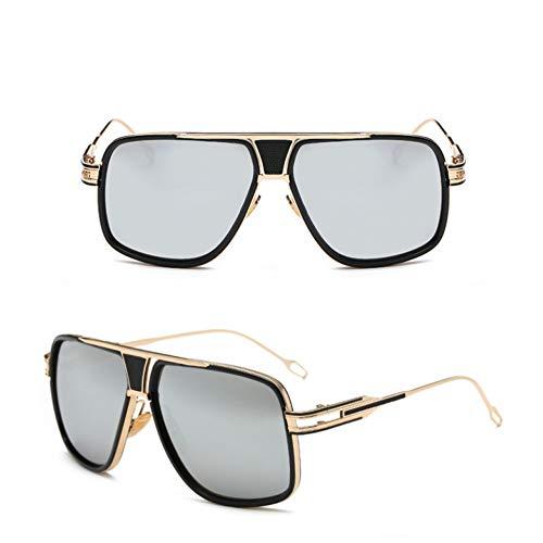 SXRAI Herren übergroße quadratische Sonnenbrille Klare Sonnenbrille für Frauen Spiegelbrillen,C2