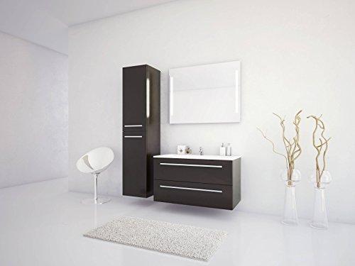 Badmöbelset Libato Waschtischunterschrank mit Hochschrank und Leuchtspiegel 60 90 120 cm - weiß anthrazit eiche grau Hochglanz - Badmöbel Badezimmermöbel hängend [Sieper Qualität aus Deutschland] (90, anthrazit)