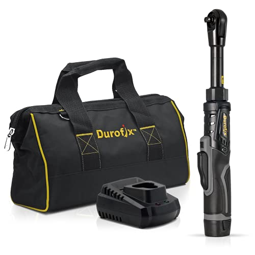 """Durofix RW1216-3P G12 Series 12V Li-ion Cordless 3/8"""" 65 ft-lbs. Extended Ratchet Wrench Tool Kit with Canvas Bag"""