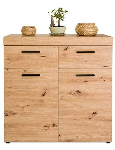 COSTWAY Sideboard Badezimmerschrank, Badschrank Aufbewahrungsschrank, Holz Kommode freistehend, Bodenschrank mit 2 Schubladen & Verstellbarer Regalebene für Bad, Wohnzimmer 90x34x90cm