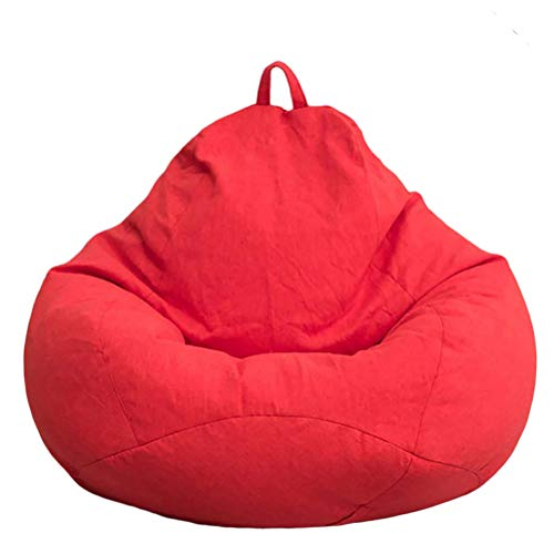 SFNTION Large Bean Bag Chair Sofa Couch Cover Without Filler Without Filler Without Filler Lazy Lounger High Back Bean Bag Chair with Three Side Pockets for Adults and Kids (S:60x70cm, Red)