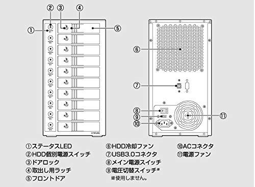 『センチュリー 裸族のスカイタワー 10Bay IS 独立電源スイッチ搭載 HDD 10台搭載可能ケース CRST1035U3IS6G』の6枚目の画像