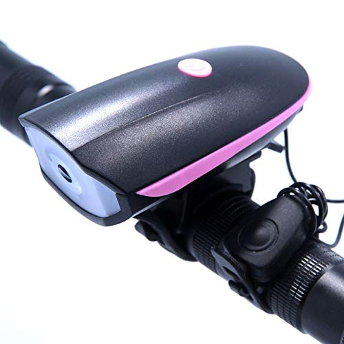 Luzde Bicicleta Luz de Bicicleta Delantera USB con el Cuerno Recargable LED Bicicleta luz Impermeable Ciclismo Faro multifunción Linterna lámparas Pink
