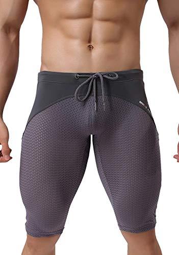 BRAVE PERSON Men's Fashion Breathable Mesh Elastic Training Shorts Swim Trunks Beach Pants 2240 (L: 30'-35'', Gray)