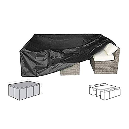 WWWANG Muebles de ratán Covers Oxford Tela Impermeable Cubierta Sofá Cubierta Exterior del sillón de Guardapolvos, 15 tamaños, adaptables (Color : Black, Size : 200x160x70cm)