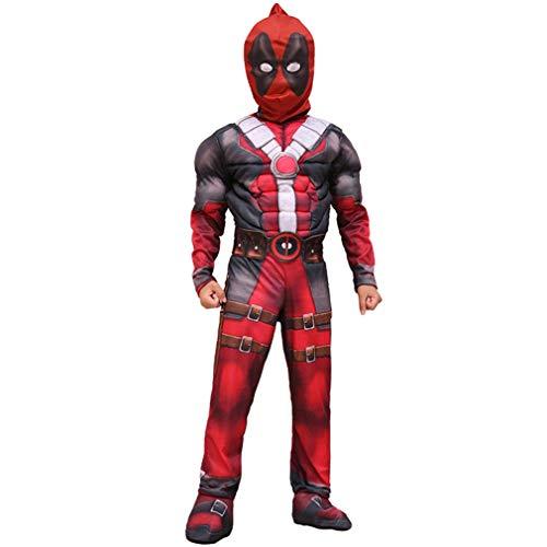 LINLIN Unisex Deadpool Cosplay Costuche Costura Apuesta Superhero Pelcula Propiedad Personas Proteccin Halloween Modo de Carnaval Futica Dispositivo Partido Onesies,Red-Kid M 120~130Cm