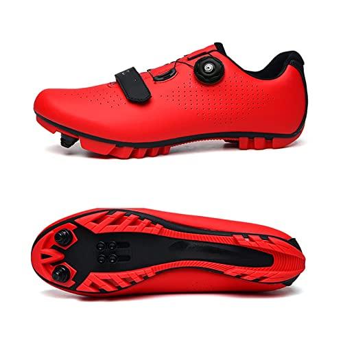ZBHWYD MTB Ciclismo Hombres Zapatos de Ciclismo Transpirable Carreras de Bicicleta Auto-Bloqueo MTB Zapatos de montaña Zapatos de Bicicleta (Color : Red, Size : 39 EU)