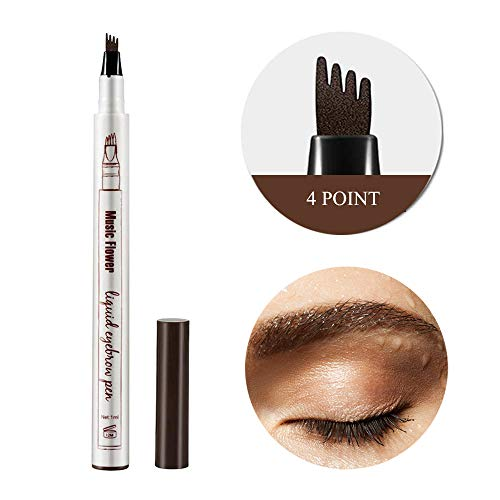 Eyebrow Tattoo Pen,4 Point Eyebrow Pen Waterproof Tat Brow Microblading Eyebrow Tattoo Pencil with a Micro Fork Tip Natural Looking Brows Effortlessly Stays on All Day for Eyes Makeup(01#Chestnut)