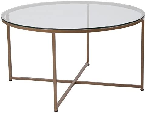 Best Flash Furniture Greenwich Collection Glass Coffee Table with Matte Gold Frame