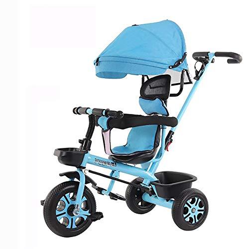 SSLC driewieler voor baby's, opvouwbaar, trike bike, driewieler, opvouwbaar, 4-in-1, kinderfiets, afneembare kap, telescoopstang voor ouders, stuwkracht 6 maanden tot 5 jaar, max. 30 kg.