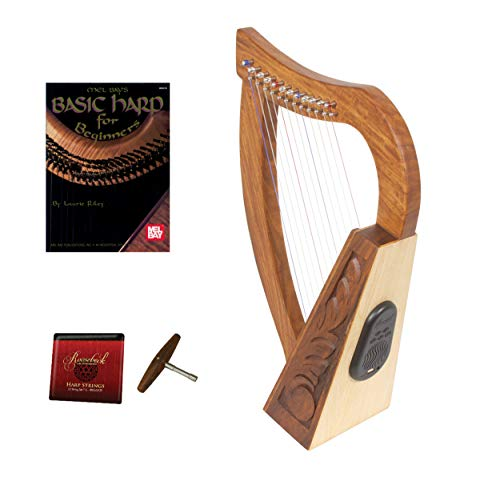 Roosebeck Baby Celtic Harp 12-String w/Bluetooth Speaker+ Play Book + Extra Strings & Tuning Tool