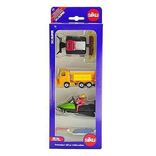 SIKU 6290, Set regalo - Inverno, Metallo/Plastica, multicolore, Combinazione di giocattoli, Mezzo spazzaneve, Pistenbully 600, Motoslitta