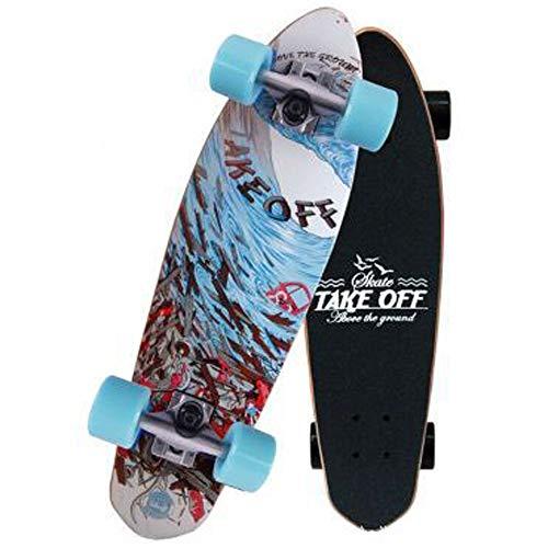 WRISCG Skateboard Mini Cruiser Komplettboard 68×19cm 7 Etagen kanadischem Ahornholz Deck, ABEC-9 Kugellager, Komplett-Board mit tollen Features für Einsteiger, Verschiedene Deck-Designs wählbar,C