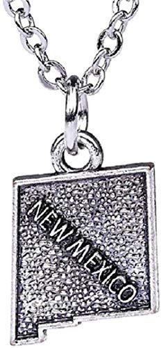 BACKZY MXJP Halskette Fishhook Usa State Map New Mexico Halskette Anhänger Benutzerdefinierte Gliederung State Charms Antike Versilberte Charms Geschenke