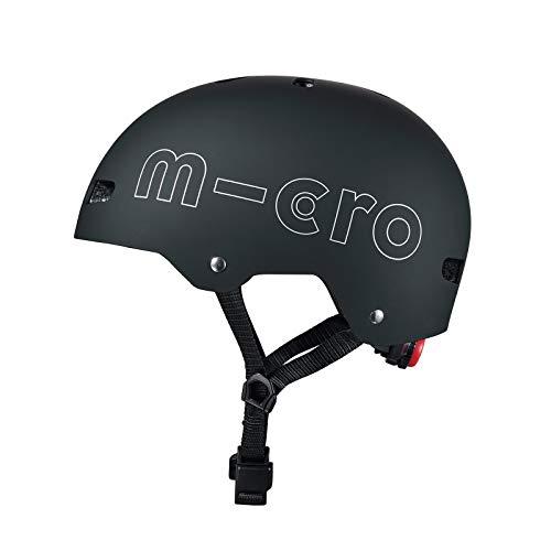 Micro Mobility - Casque Noir Mat - Coque en ABS - - Sécurité à Trottinette, vélo, Rollers, Skate - Ado et Adulte - Attache magnétique Facile et sans Risque + lumière - Intérieur Lavable - Taille L