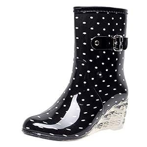 YWLINK Botas De Lluvia Mujer Hunter Zapatos CuñA Botas De Lluvia Hebilla con Cremallera Lateral Transparentes Zapatos De Goma Moda Casual Antideslizante Botas De Nieve PVC TamañO Grande(Blanco,39EU)