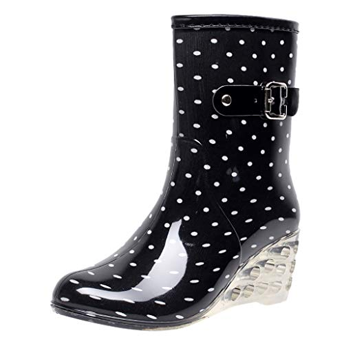 YWLINK Botas De Lluvia Mujer Hunter Zapatos CuñA Botas De Lluvia Hebilla con Cremallera Lateral Transparentes Zapatos De Goma Moda Casual Antideslizante Botas De Nieve PVC TamañO Grande