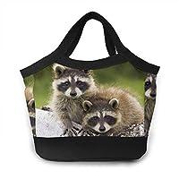 アライグマカップル木材ウォーク ランチバッグ トートバッグ 買い物バッグ レディース おしゃれ 人気 バッグ ハンドバッグ エコバッグ