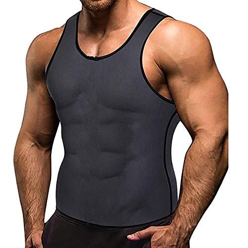 ZWPY Chaleco Moldeador de Peso Faja Reductora Sauna Camiseta para Hombre,para Pérdida de Peso Quema Grasa,musculación,Cardio,Traje para Sudar,Gris S-5XL,M