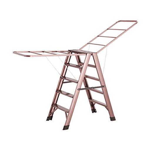 XinQing-Escaleras Plegables Escalera Plegable Aleación de Aluminio Estante de Secado para el hogar Escalera de ingeniería para Exteriores Oro Rosa 5 Pasos 38.6x19.7x33.5in