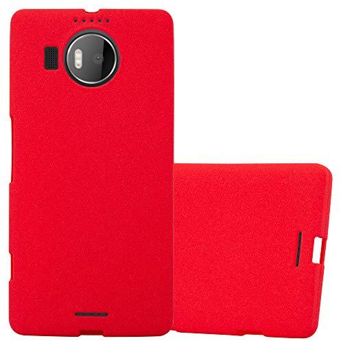 Cadorabo Hülle für Nokia Lumia 950 XL - Hülle in Frost ROT – Handyhülle aus TPU Silikon im matten Frosted Design - Silikonhülle Schutzhülle Ultra Slim Soft Back Cover Hülle Bumper