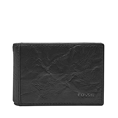 Fossil Men's Money Clip Bifold Wallet, Black, One Size