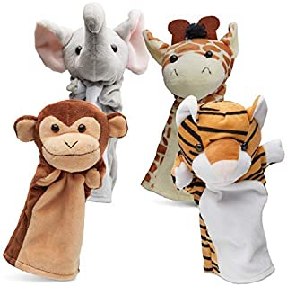 Hand Puppets Jungle Friends [Set of 4]   Elephant, Giraffe, Tiger & Monkey Stuffed Plush Animal Toys for Boys & Girls   Perfect for Storytelling, Teaching, Preschool & Role-Play