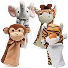 Hand Puppets Jungle Friends [Set of 4] | Elephant, Giraffe, Tiger & Monkey Stuffed Plush Animal Toys for Boys & Girls | Perfect for Storytelling, Teaching, Preschool & Role-Play