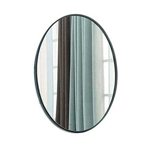 DERUKK-TY Espejo de pared para sala de estar, dorado, ovalado, espejo de baño, porche, espejo decorativo con montaje en hierro, color dorado, tamaño: 60 x 95 cm