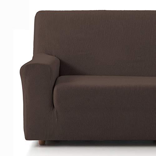Eiffel Textile Funda Sofa Elastica Protector Adaptable Rústica Sofá 3 Plazas, 50% Poliéster, Marrón