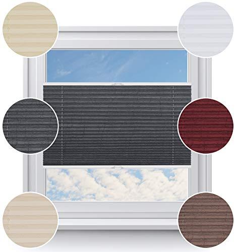 Rollo StudioModerner Crushed Optik, Fenster Plissee auf Maß, ohne Bohren mit Neu Klemmfix Smartfix Jalousie System, Viele Größen und Farben, für alle Fenster, Fensterrollos, Grau