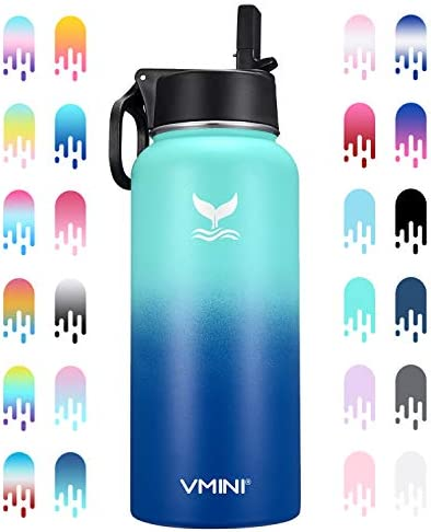 Vmini Water Bottle with New Wide Handle Straw Lid Wide Mouth Vacuum Insulated 18 8 Stainless product image