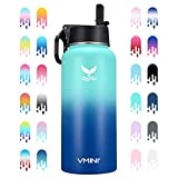 Vmini Water Bottle with New Wide Handle Straw Lid, Wide Mouth Vacuum Insulated 18/8 Stainless Steel, 32 oz, Gradient Mint + Blue