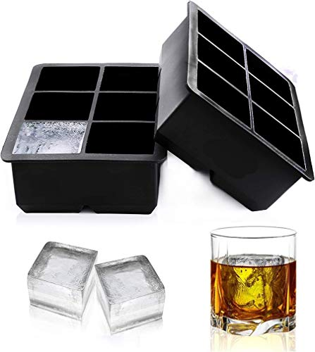 Ice Cube Trays Large Size Flexible 6 Cavity Ice Cube Square Molds for Whiskey and Cocktails, Keep Drinks Chilled (2 Pcs)