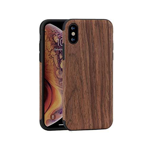 Phone cover Funda para iPhone 11 Pro Xs Max Xr X 7 8 Plus 6 6s 5 5s SE 2021 12 Mini Grano de Madera Flexible Silicona Híbrida Delgada - Rojo Para iPhone 6S