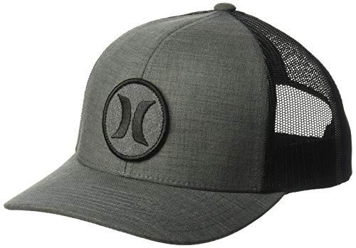 Hurley Men's Textures Patch Trucker Baseball Cap, Black/Black Crosshatch, One Size