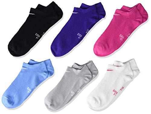Nike Unisex-Kinder Everyday Lightweight No-Show (6 Pairs) Socken, Purple/Blue/Pink, Medium
