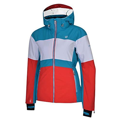 Dare 2b Damen Avowal Waterproof & Breathable High Loft Insulated Technical Ski & Snowboard Jacket with Detachable Snowskirt and Wire Peaked Hood wasserdichte, isolierte Jacken, Lollipop/weiß, 12