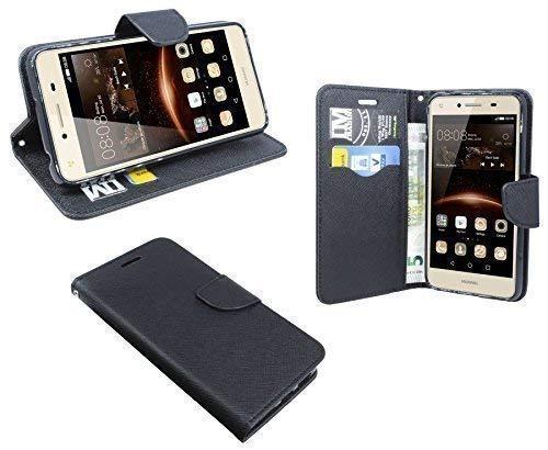 ENERGMiX Buchtasche kompatibel mit Huawei Y6 II Compact Hülle Hülle Tasche Wallet BookStyle mit Standfunktion in Schwarz