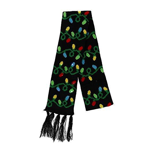 Lotsa Lites! Flashing Holiday Christmas Knitted Scarves (Christmas Bulbs)