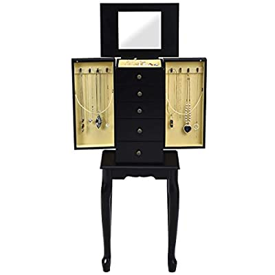 Giantex Jewelry Armoire Cabinet Chest Organizer Box Top with Flip Mirror Standing Space-Saving Bedroom Makeup Accessories Storage Amoires 8 Necklace Hooks, Jewelry Cabinets with 4 Drawers (Black)