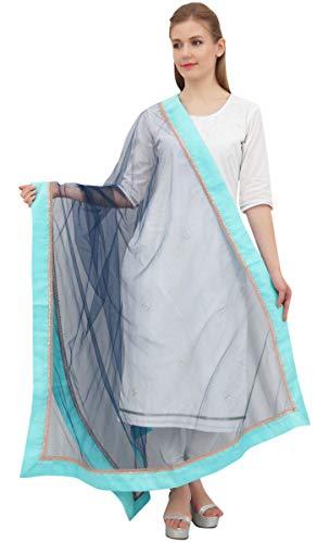 Phagun Indain Frauen Hijab-Schal Thrownetz Dupatta Chunni Neck Wrap-Marine-Blau