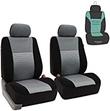 FH Group FB060102 Trendy Elegance Pair Set Bucket Car Seat Covers, (Airbag Compatible) w. Gift, Gray / Black Color-Fit Most Car, Truck, SUV, or Van