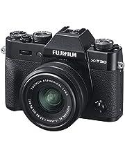 Fujifilm X-T30 spiegelloze digitale camera, zwart met Fujinon XC15-45mm optische beeldstabilisatie power zoom lens kit, zwart