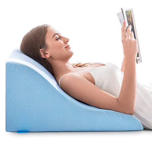 NOFFA Reading Pillow, Memory Foam Ergonomic Wedge Pillow, Leg Elevation Pillow, Bed Rest Pillows with Velvet Cover - Perfect for Back Support While Relaxing, Gaming, Reading, or Watching TV